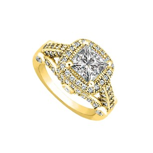 LoveBrightJewelry Cubic Zirconia Milgraine Engagement Ring In Yellow Gold