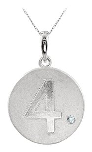 LoveBrightJewelry Cubic Zirconia Number 4 Disc Pendant in Rhodium Plating 925 Sterling Silver Single CZ Accent