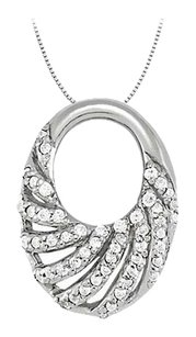 LoveBrightJewelry Cubic Zirconia Oval Fashion Pendant in 925 Silver 0.25 CT TGW,Perfect Jewelry Gift for Women