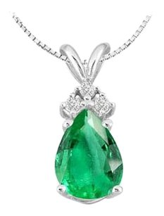 LoveBrightJewelry Cubic Zirconia Round with Pear Shape Frosted Emerald Pendant in 14K White Gold 1.81 Carat TGW