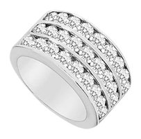 LoveBrightJewelry Cubic Zirconia Row Ring 10K White Gold 2.50 CT TGW