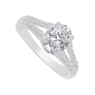 LoveBrightJewelry Cubic Zirconia Split Shank Ring In 925 Sterling Silver