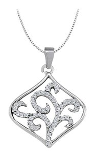LoveBrightJewelry Cubic Zirconia Square Shaped Pendant in Sterling Silver 0.25 CT TGW,Perfect Jewelry Gift
