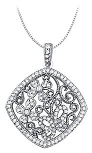 LoveBrightJewelry Cubic zirconia square shaped pendant in Sterling Silver 0.75 CT TGW,Perfect Jewelry Gift