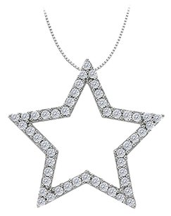 LoveBrightJewelry Cubic Zirconia Star Pendant in Sterling Silver 0.50 CT TGW,Perfect Jewelry Gift