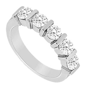 LoveBrightJewelry Cubic Zirconia Wedding Band Sterling Silver 0.50 CT CZs