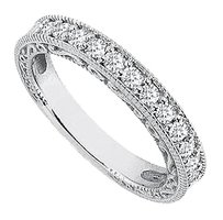 LoveBrightJewelry Cubic Zirconia Wedding Rings in Sterling Silver Milgrain of 0.35 Carat CZs