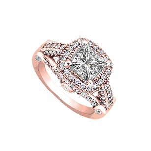 LoveBrightJewelry Cute Cubic Zirconia Engagement Ring 14k Rose Gold