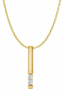LoveBrightJewelry CZ 2 Stone Vertical Bar Pendant Yellow Gold with Chain