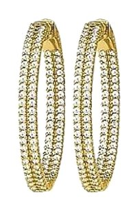 LoveBrightJewelry CZ 31mm 2 Sided Inside Out Hoop Earrings in Yellow Rhodium over Sterling Silver