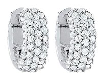 LoveBrightJewelry CZ 5 Row Petite Vault Lock Earrings in White Rhodium Over Sterling Silver