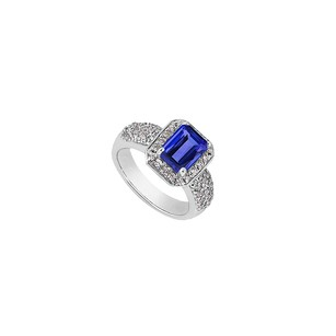 LoveBrightJewelry Cz And Emerald Cut Simulated Blue Sapphire Ring In 14k White Gold 3.75 Carat Total Gem Weight
