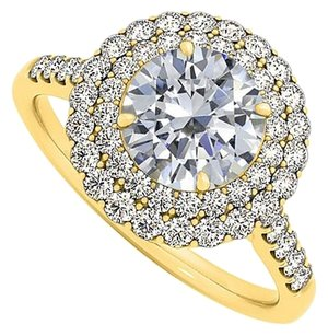 LoveBrightJewelry CZ Double Halo Engagement Ring Yellow Gold Vermeil