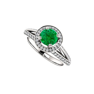 LoveBrightJewelry CZ Emerald Halo Split Shank Ring in 925 Sterling Silver