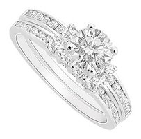 LoveBrightJewelry CZ Engagement Ring with Wedding Band Sets in Rhodium Treated 925 Sterling Silver 1.00 Carat TGW