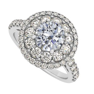 LoveBrightJewelry Cz Halo Engagement Ring In 14k White Gold 2.00 Ct Tgw