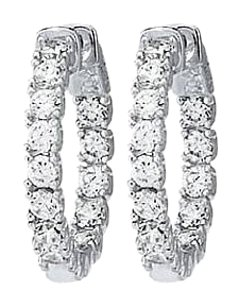 LoveBrightJewelry CZ Round Prong Inside Out Hoop Earrings in 925 Silver