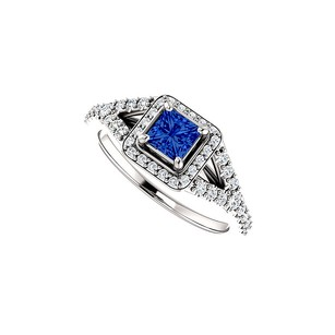 LoveBrightJewelry CZ Square Sapphire Split Shank Halo Ring in White Gold