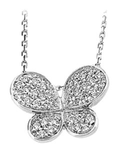 LoveBrightJewelry CZs Rhodium Treated 18 Inch Butterfly Pendant Necklace
