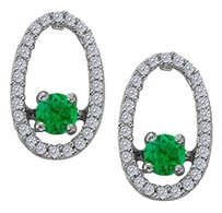 LoveBrightJewelry Dancing Diamonds Earrings with Emerald and CZ in 925 Sterling Silver
