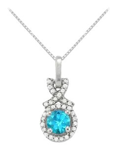 LoveBrightJewelry December Birthstone Blue Topaz with CZ Halo Pendant in Sterling Silver