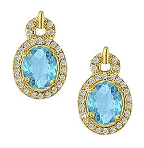 LoveBrightJewelry December Birthstone Oval Blue Topaz with Diamonds Earrings