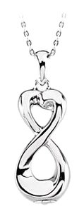 LoveBrightJewelry Designer inspired Infinity Love Ash Holder Pendant in Sterling Silver with fine silver chain