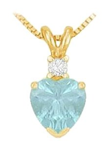 LoveBrightJewelry Diamond and Aquamarine Solitaire Pendant 14K Yellow Gold 1.00 CT TGW March Birthstone Jewelry