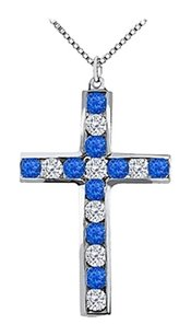 LoveBrightJewelry Diamond and Blue Sapphire Cross Pendant in 14K White Gold 0.50 Carat Total Gem Weight