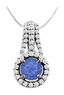 LoveBrightJewelry Diamond and Natural Sapphire Pendant in 14K White Gold 1.00 Carat TGW