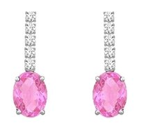 LoveBrightJewelry Diamond and Pink Sapphire Earrings 14K White Gold 1.25 CT TGW