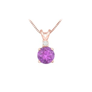 LoveBrightJewelry Diamond and Round Amethyst Solitaire Pendant 14K Rose Gold