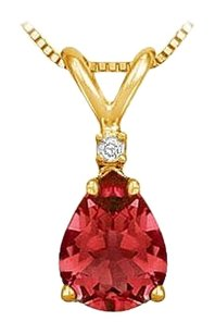 LoveBrightJewelry Diamond and Ruby Solitaire Pendant 14K Yellow Gold 1.00 CT TGW