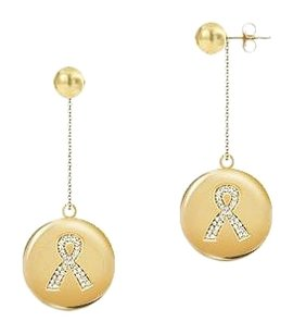 LoveBrightJewelry Diamond Breast Cancer Awareness Ribbon Disc Earrings0.33 CT Diamonds