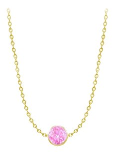 LoveBrightJewelry Diamond By The Yard Created Pink Sapphire Necklace on 14K Yellow Gold Bezel Set 1.00 ct.tw