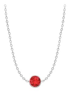LoveBrightJewelry Diamond By The Yard GF Bangkok Ruby Necklace on 14K White Gold Bezel Set 1.00 ct.tw