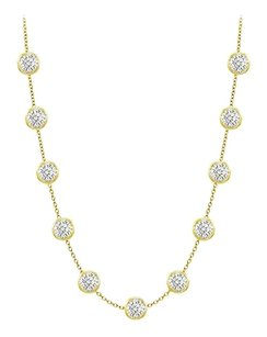 LoveBrightJewelry Diamond by the yard Necklaces Three Carat Station Cubic Zirconia
