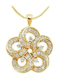 LoveBrightJewelry Diamond Flower Pendant 14K Yellow Gold 0.55 CT Diamonds