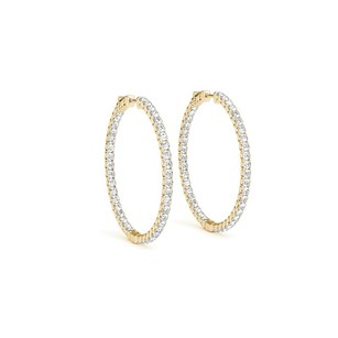 LoveBrightJewelry Diamond Hoop Earrings for Women in 14K Yellow Gold 4 CT TDW