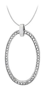LoveBrightJewelry Diamond Oval Shaped Pendant in 14K White Gold 0.75 CT TDW