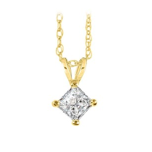 LoveBrightJewelry Diamond Solitaire Pendant in 14K Yellow Gold Free Chain