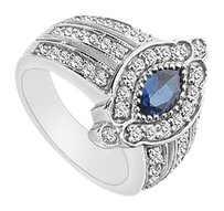 LoveBrightJewelry Diffuse Sapphire and Cubic Zirconia Ring 1.50 Carat Total Gem Weight
