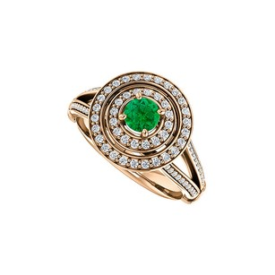 LoveBrightJewelry Double Halo Split Shank Emerald CZ Ring Rose Vermeil