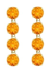 LoveBrightJewelry Drop Earrings Round Cut Citrine in Sterling Silver 18K Yellow Gold Vermeil Eight Carat TGW