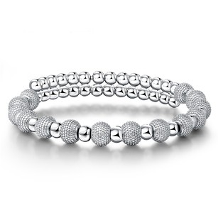 LoveBrightJewelry Elegant Beaded Women Bracelet in White Gold Vermeil