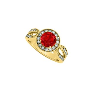 LoveBrightJewelry Elegant Gift Ruby And Cubic Zirconia Ring 1.50 Tgw