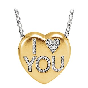 LoveBrightJewelry Embedded Natural Conflict Free Diamonds I Love You Heart Pendant Necklace