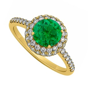 LoveBrightJewelry Emerald And Cubic Zirconia Double Fashion Halo Engagement Ring In 18k Yellow Gold Vermeil