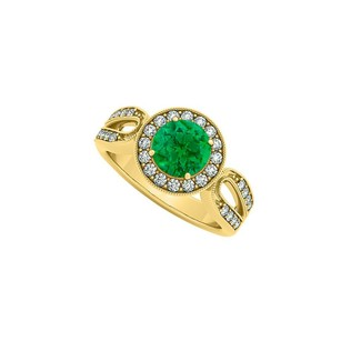 LoveBrightJewelry Emerald And Cubic Zirconia Milgrain Halo Wide Shank Engagement Ring In 18k Yellow Gold Vermeil