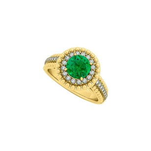 LoveBrightJewelry Emerald And Cz Halo Engagement Ring In Yellow Gold Vermeil With Interesting Design And Fab Price